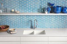 Blue diamond backsplash; Apartment Therapy/Kohler Kitchen refresh