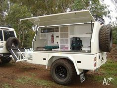 Custom built camper trailer / camp kitchen ideal for heavy duty off road. Used Camper Trailers, Off Road Camper Trailer, Custom Trailers, Camping Trailers, Utility Trailer Camper, Travel Trailers, Off Road Camping, Truck Camping, Camping Hacks