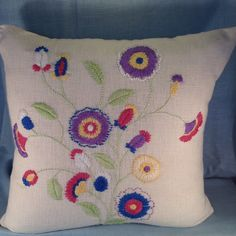 Floral Hand Embroidery Pillow by Handembroiderypillow on Etsy, $98.00