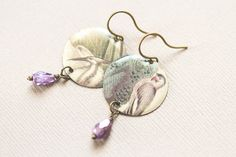 Green Bird Earrings with Purple Drop Beads by MusingTreeStudios, $16.99 #etsy #handmade #jewelry