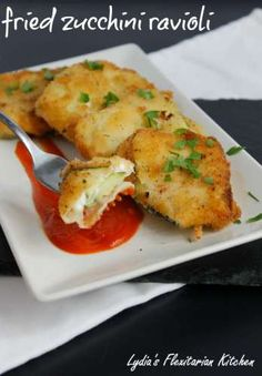 Fried Zucchini Ravioli ~ Lydia's Flexitarian Kitchen