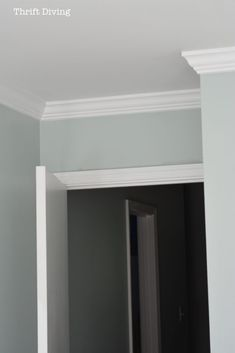 Entrance - Crown moulding is installed; paint color is Sherwin Williams Rainwashed. Crown Molding In Bedroom, Diy Crown Molding, Moulding, Crown Moldings, Molding Ideas, Condo Living Room, Living Rooms, Kitchens And Bedrooms, Small Kitchens