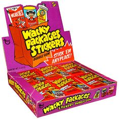 Wacky Packages are stickers (peel and punch-out) that were released by the Topps Chewing Gum company (and their Canadian partner OPC) from 1967 to the most recent series in 2008. They parodied common household products and were extremely popular among children in the 1970's.