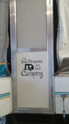 Pop up camper love- Best Camping Memories vinyl decal sticker modeled by another happy customer!