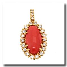 Inv. #16679  Meister Coral and Diamond Pendant 18k c1960s Swiss. Lawrence Jeffrey Estate Jewelers