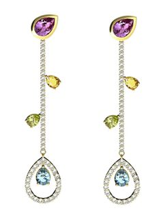 These drop earrings are set in amethyst, diamonds, citrine, aquamarine and wait for it.....peridot! Phew, that's a lot of bling. Aren't they lovely? :)