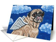 Dog card: Angel Wings Pug Dog Clouds Animal Sympathy Pet Loss Greeting Card by Melinda Dalke