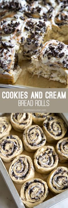 These cookies and cream rolls transform a simple yeasted bread dough into a magical and delicious treat! This cinnamon roll variation is great for special Kekse Cookies and Cream Rolls (cinnamon roll varation)- The Little Epicurean Easy Desserts, Delicious Desserts, Yummy Food, Tasty, Oreo Desserts, Gourmet Desserts, Lemon Desserts, Baking Recipes, Cookie Recipes