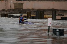DENVER, CO - May 5: Ian Fisher kayaks his way down the Platte River on Tuesday, May 5, 2015 at Confluence Park in Denver, Colorado. Tuesday kicked off a week of rain on the front range with showers continuing until Monday according to the National Weather Service. The rain over the next few days has increased the chance of flooding in the area. (Photo By Brent Lewis/The Denver Post)