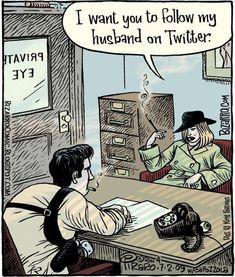 Cartoon Jokes, Funny Cartoons, Funny Memes, Detective, Bizarro Comic, Social Media Humor, About Twitter, Private Investigator, Humor Grafico