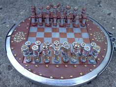 steampunk bolt and gear chess set complete by ArtisanUpcycling