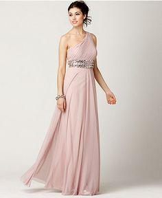 JS Collections Dress, Sleeveless One Shoulder Beaded Empire Waist Evening Gown - Womens Dresses - Macy's
