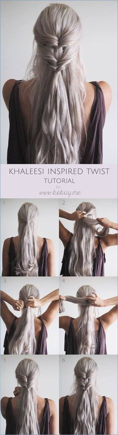 penteados fáceis e rápidos para cabelos longo e médio- cabelos grisalhos - passo-a-passo