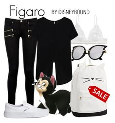 """Figaro"" by leslieakay ❤ liked on Polyvore featuring Monki, Paige Denim, Disney, Vans, disney, disneybound and disneycharacter"