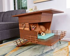 Modern Dog House End Table. Pet Retreat-Four Legged Furniture Contemporary Dog Houses, Modern Dog Houses, Cool Dog Houses, Pet Furniture, Modern Furniture, Dog Milk, Niches, Dog Insurance, Pets