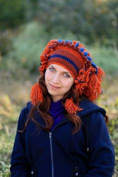 Winter flower shaman crochet hat festival costume headdress brown blue orange nature inspired native style knit wool adult beanie gift idea