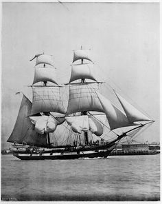 """Royal Navy Training Brig """"Martin"""" at spithead, of Southsea Portsmouth 1896"""