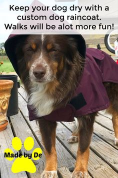 Get a custom dog raincoat for your dog and be ready for the rains this spring. Dog Smells, Dog Raincoat, Dog Coats, Waterproof Fabric, Love Her, Pup, Spring, Dogs, Coats For Dogs