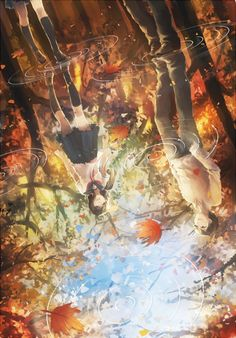 leaves water rain couple anime girl guy autumn