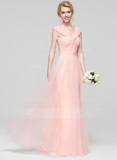 [€ 119.92] A-Line/Princess V-neck Floor-Length Tulle Bridesmaid Dress With Ruffle (007090142)
