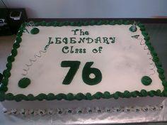 Class reunion cake for:  Cass Tech's Legendary Class of 76!!  2-layer sheet cake - 1/2 white almond sour cream cake with seedless blackberry buttercream filling, 1/2 lemon cake with lemon curd buttercream filling.