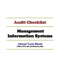 Audit Checklist Managementinformation Systems Ahmad Tariq Bhatti