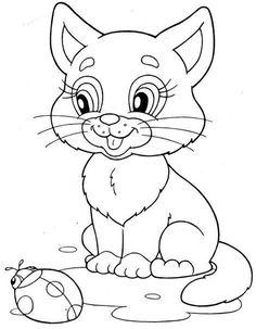 kitten & ladybug coloring page