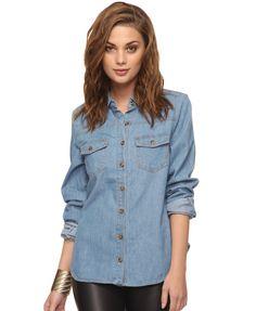 Horn Button Denim Shirt | FOREVER21 - 2000036685