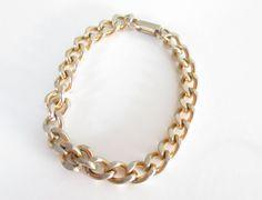 Yellow Gold Link Bracelet  Vintage 1980s by ThePookiesJewelryBox, $10.00