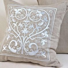 OMG!!!!!    Natural & White Montigny-le-Roi Cushion Cover by Pure Linen