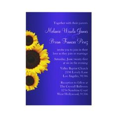 Blue and Yellow Sunflower Wedding Invitation by party_depot
