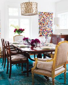 Colorful dining room. Love the pendant lamp.