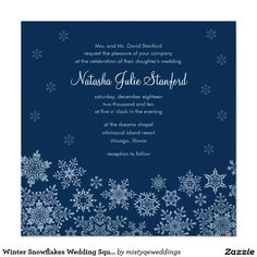 "Winter Snowflakes Wedding Square Invitation Card 5.25"" Square Invitation Card"