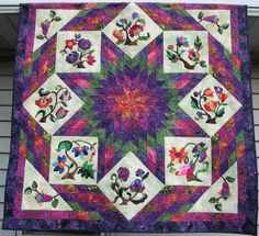 Dee's Quilted Moose: Jacobean Floral meets Lone Star and Beyond Interesting block setting Lone Star Quilt, Star Quilts, Star Patterns, Quilt Patterns, Longarm Quilting, Quilting Ideas, Quilted Throw Blanket, Flower Quilts, Star Blocks