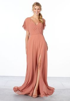 Chiffon Bridesmaid Dress with Flutter Sleeve and Front Slit Mori Lee Bridesmaid Dresses, Velvet Bridesmaid Dresses, Prom Dresses, Wedding Dresses, Bride Dresses, Junior Bridesmaids, Chiffon Dresses, Dressy Dresses, Bridal And Formal