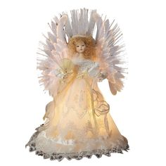 Kurt Adler Fiber Optic Ivory Angel Treetop, 14-Inch ** Save this wonderfull product : Garden Christmas Decorations