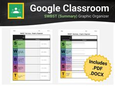 Help your students to become master summarizers with the SWBST strategy. This graphic organizer is google classroom/docs ready! No more messy formatting errors upon converting from .pdf or .docx to Google Docs; however, these file formats are also included in the download for your convenience.