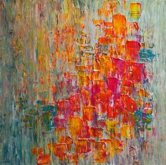 gorgeous acrylic painting with lemon, fuchsia, teal, tangerine orange. unfortunately sold.