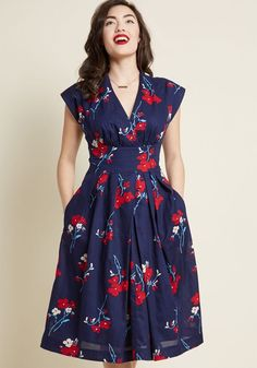 Emily and Fin Saunter Sweetly Midi Dress in Navy - Rush around in this navy dress from Emily and Fin? No way - its vintage-inspired design needs a few extra seconds to be savored! The hard-to-find British brand astounds once again with the cap sleeves, surplice neckline, and pockets of this floral-printed midi - a ModCloth-exclusive look that encourages you to take it slow and show it off.