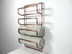 Grand porte-serviettes en tuyau de cuivre recyclé, fait main, porte 4 serviettes, design français, décor industriel, fabriqué en France