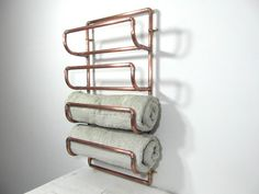Large 4 towel rack copper pipe towel rack by frenchvintagedream