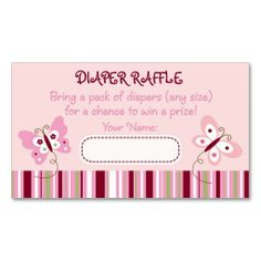 Butterfly Diaper Raffle Tickets Business Cards