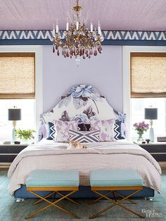 Choose a color to paint the wall above your bed for a dramatic effect. More ideas for decorating above a bed on A Blissful Nest. http://ablissfulnest.com