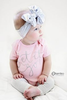 Baby Onesie LET IT GO with silver sparkle by LolaandDarlaDesigns