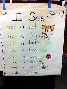 sight word center...big tablet paper for reading fluency and writing sentences