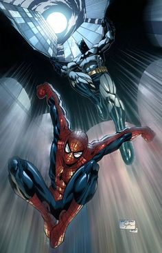Batman and Spider-Man by Sheldon Goh, inks by Tony... - Art Vault