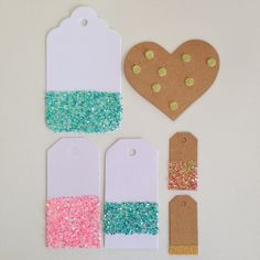 Make glitter covered gift tags