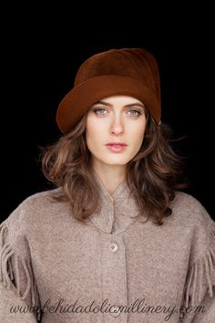 Hollywood Glamour brown felt cloche by behidadolicmillinery