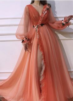 Gorgeous Glamorous V neck Long Sleeve Prom Dresses Orange Long Evening Dress Floral Elegant Formal Gowns - Source by mutikkristina - Prom Dresses Long With Sleeves, Ball Dresses, Ball Gowns, Evening Dresses, Dress Long, Elegant Dresses, Pretty Dresses, Beautiful Dresses, Formal Dresses