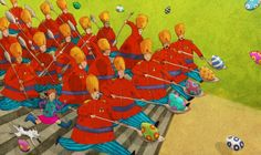 Illustration for Fig's Giant by Geraldine MacCaughrean - published by OUP (UK) 2005     http://www.jagoillustration.com